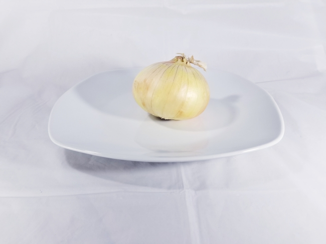 an onion on a plate